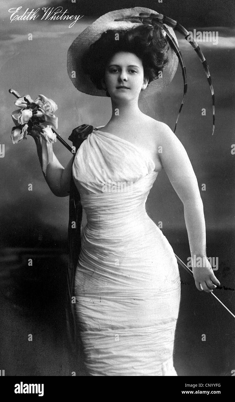 Whitney, Edith, actress, half length, circa 1900, turn of the 19th/20th century, dress, holding cane, stick, hat - Stock Image