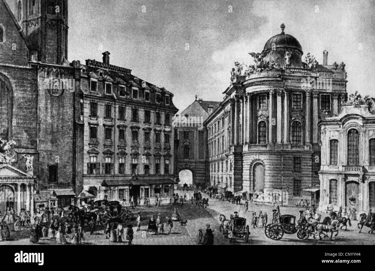 geography / travel, Austria, Vienna, Burgtheater (Court Theatre) at Michaelsplatz, reproduction of engraving by - Stock Image