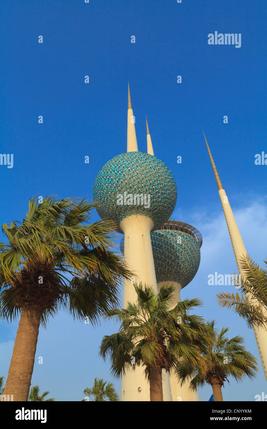 Kuwait City Water Towers are an iconic landmark of the city lying just off the Gulf Road. - Stock Image