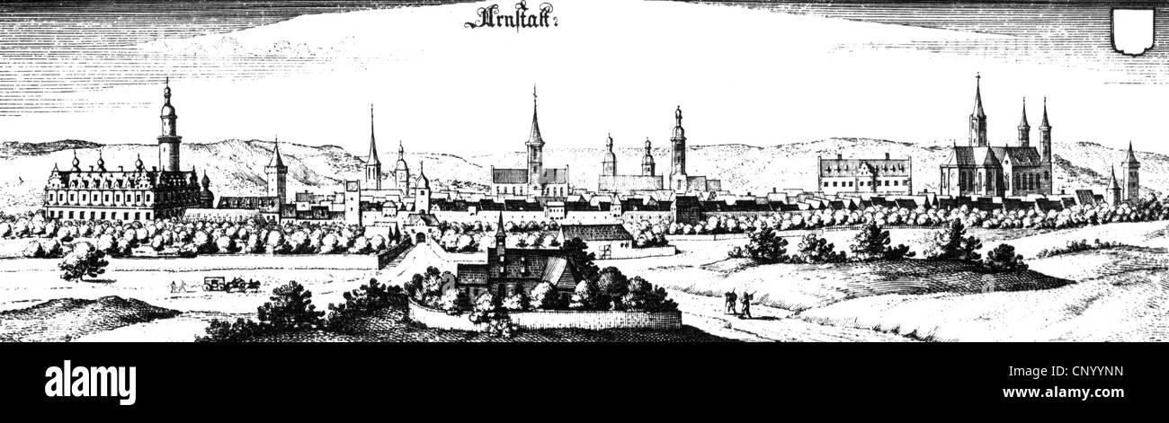 geography / travel, Germany, Arnstadt, copper engraving by Matthaeus Merian the Elder, 17th century, city view, Stock Photo