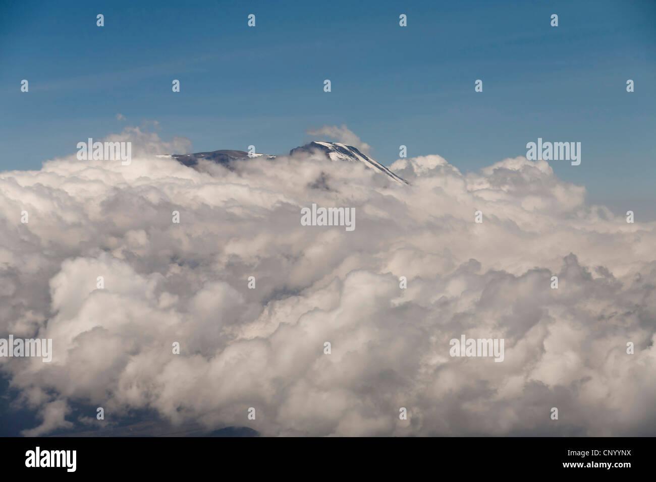 view of cloud-covered Kilimanjaro, Tanzania - Stock Image