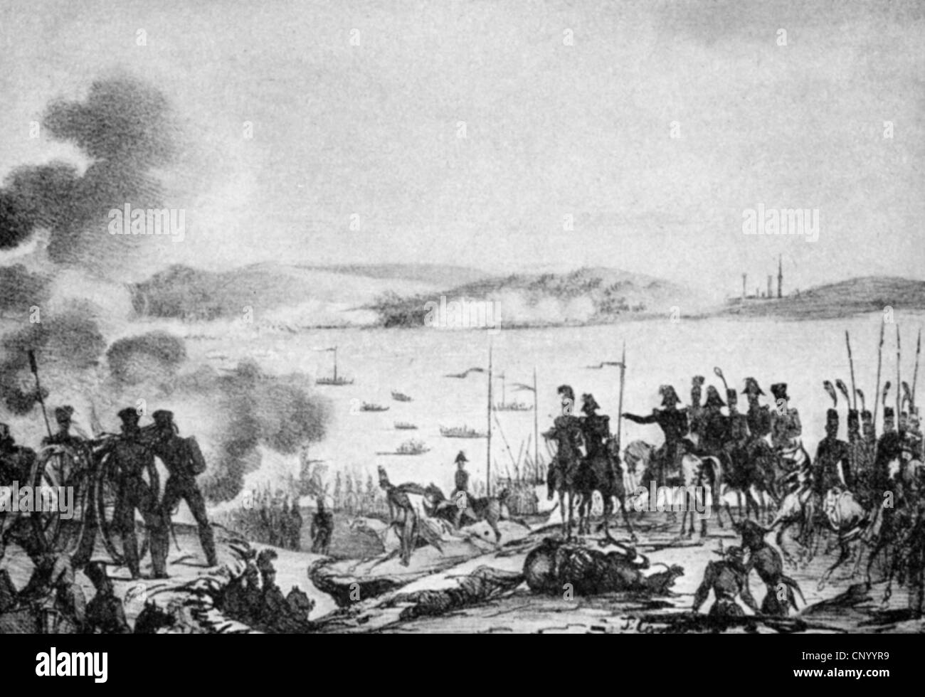events, Ninth Russo-Turkish War 1828 - 1829, the Russians crossing the  Danube, 8.6.1828, wood engraving, 19th century, army, river, Ottoman  Empire, ...
