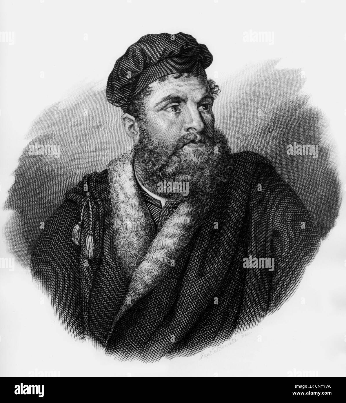 Polo, Marco, 1254 - 8.1.1324, Venetian merchant and traveller, portrait, wood engraving, 19th century, Additional - Stock Image