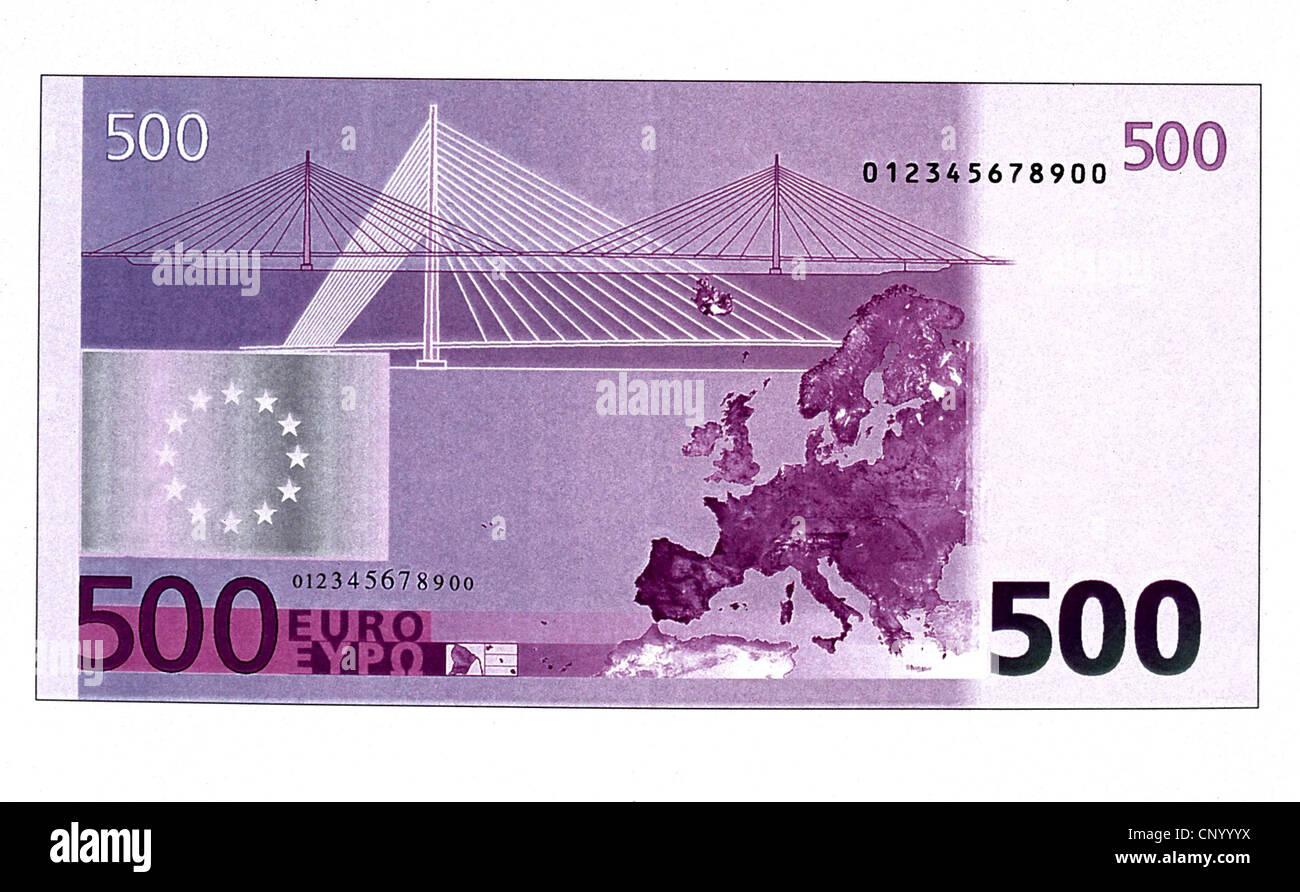 money, banknotes, euro, 500 euro bill, reverse, banknote, bank note, bill, bank notes, banknote, bank note, bill, - Stock Image