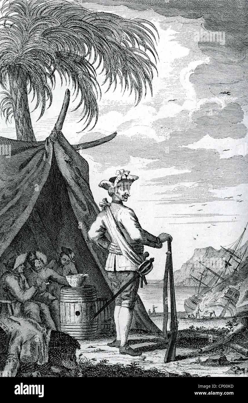 GEORGE LOWTHER (?-1723) English pirate showing his men sheltering in a tent while their ship The Happy Delivery, - Stock Image