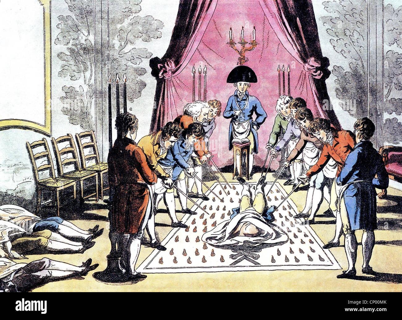 freemason, Masonic lodge, master ennoblement, ritual, coloured Stock Photo - Alamy