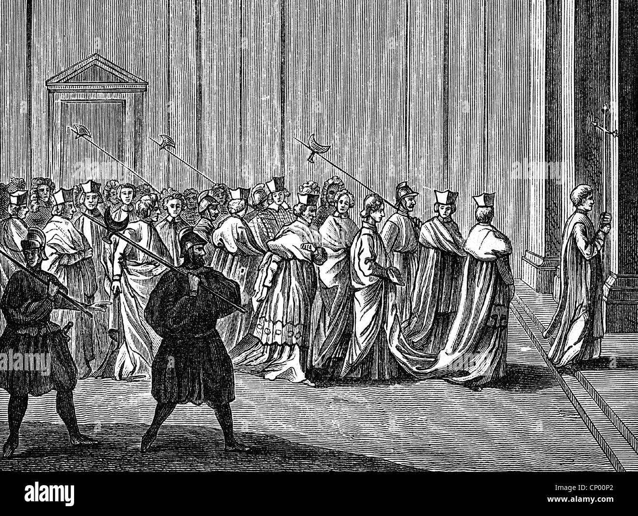 religion, Christianity, dignitary, papal election, conclave, wood engraving to 'Ceremonies religieuses' - Stock Image