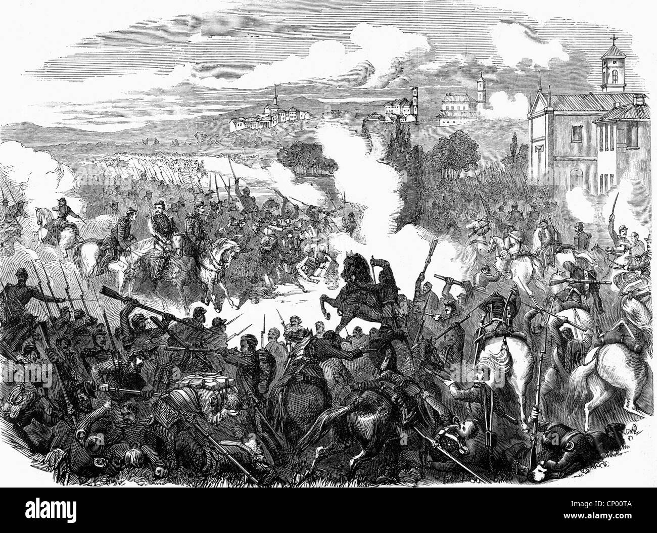 evsnts, Second Italian War of Independence 1859, Battle of Montebello, 20.5. 1859, wood engraving, 19th century, Italy, Unification Wars, French,  France, ...