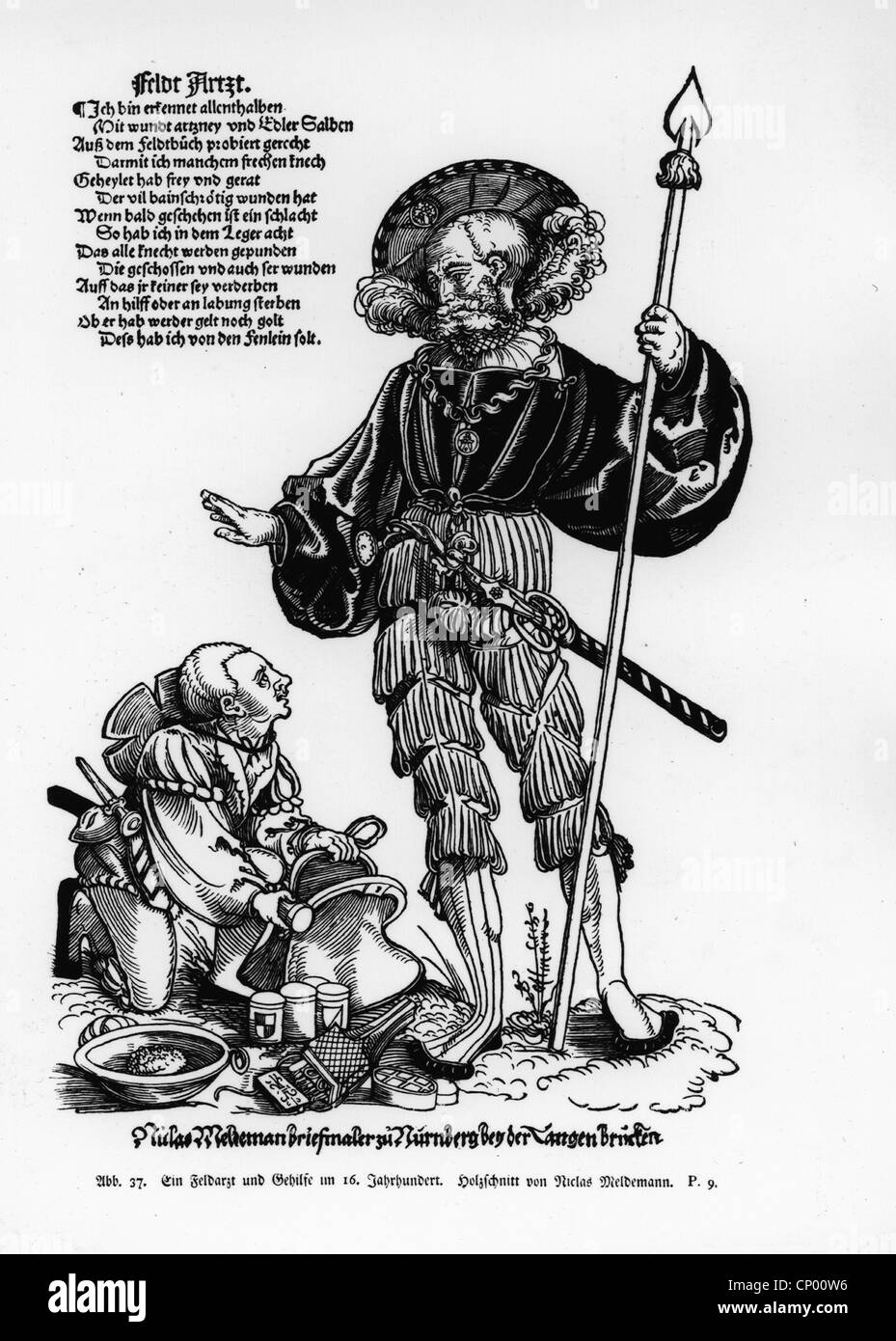 medicine, narcosis, narcosis sponge, military surgeon with his assistent, 16th century, woodcut by Niclas Meldemann, - Stock Image