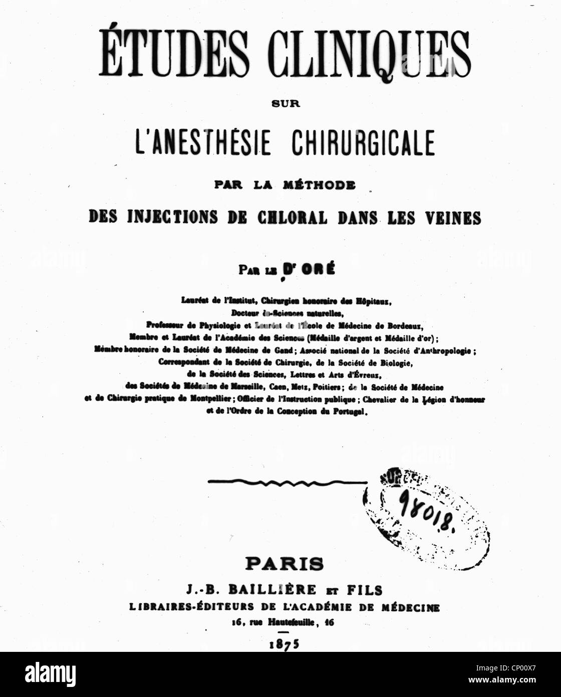 medicine, narcosis, title of the first monograph about intravenous anesthesia, 1875, Additional-Rights-Clearences - Stock Image
