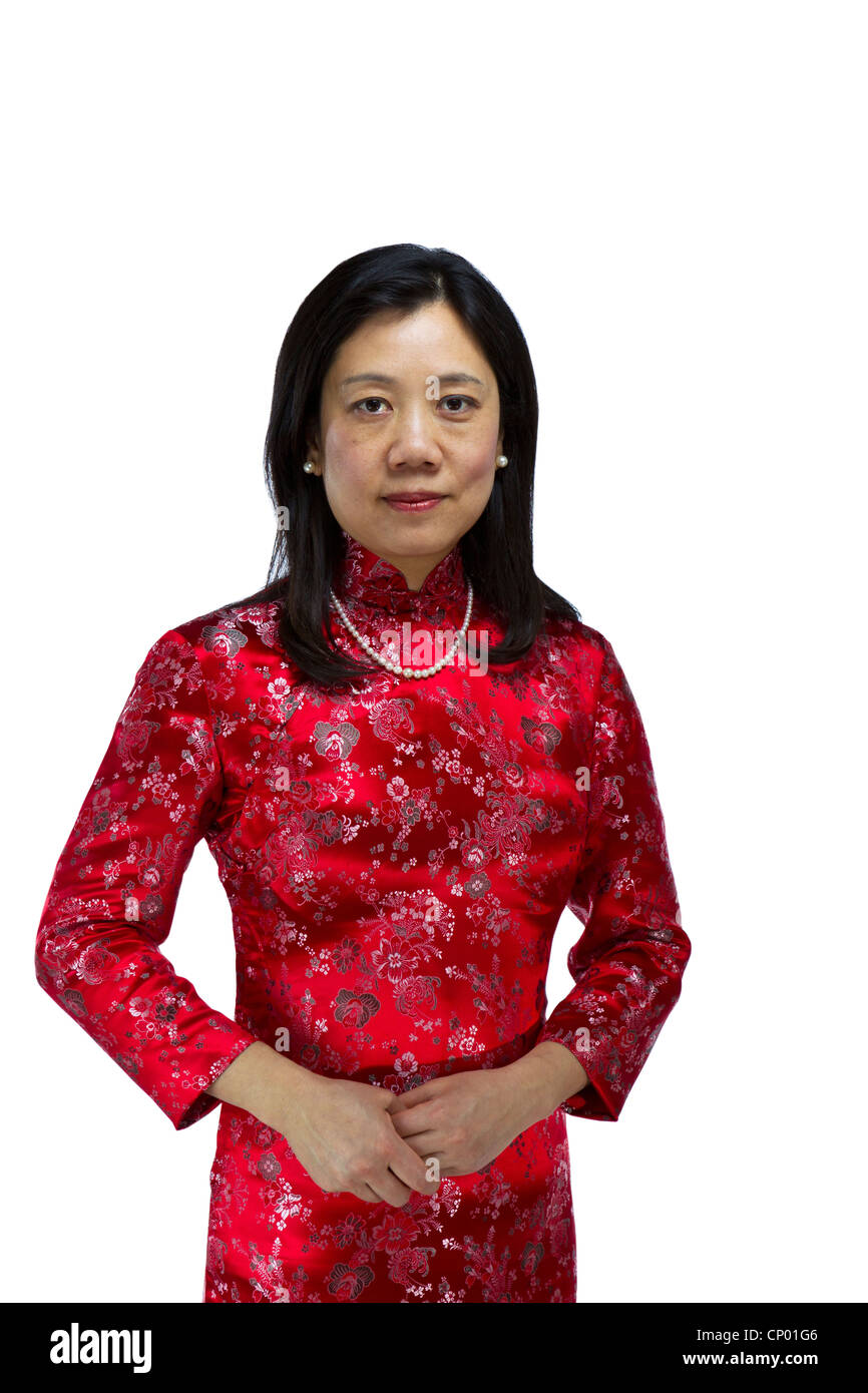 4a7dec1179e82 Asian Woman wearing traditional red chinese dress on white background -  Stock Image