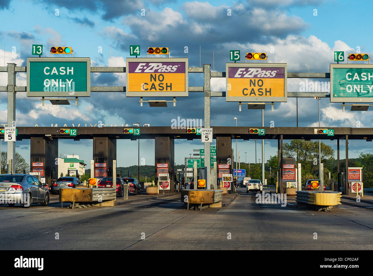 E-ZPass toll booth. - Stock Image