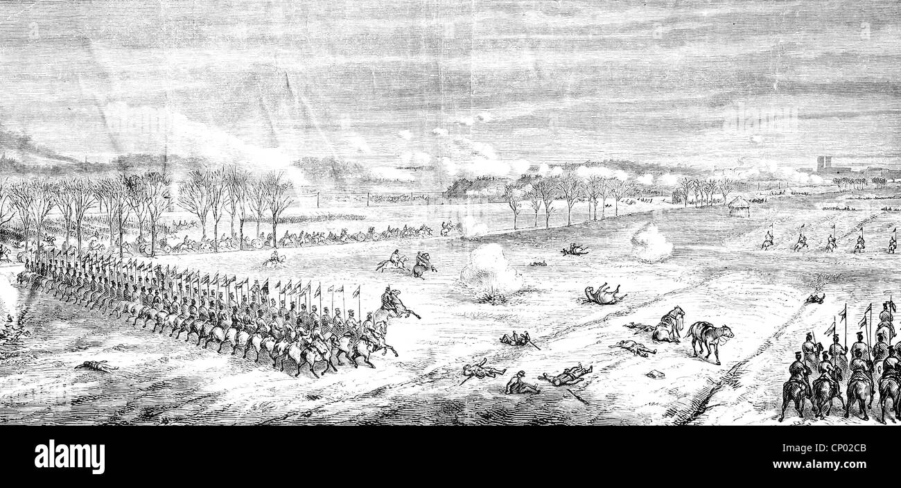 events, Franco-Prussian War 1870 - 1871, Battle of Amiens, 28.11.1870, Prussian lancers advancing, wood engraving, - Stock Image