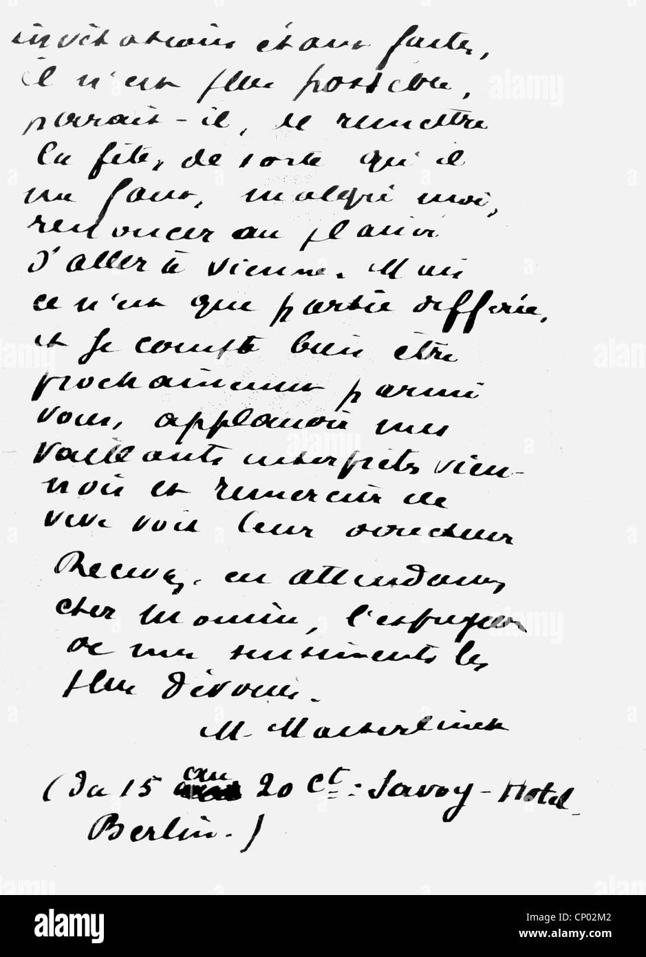 Maeterlinck, Maurice, 29.8.1862 - 6.5.1949, Belgian author / writer, his handwriting, excerpt from a letter, circa - Stock Image