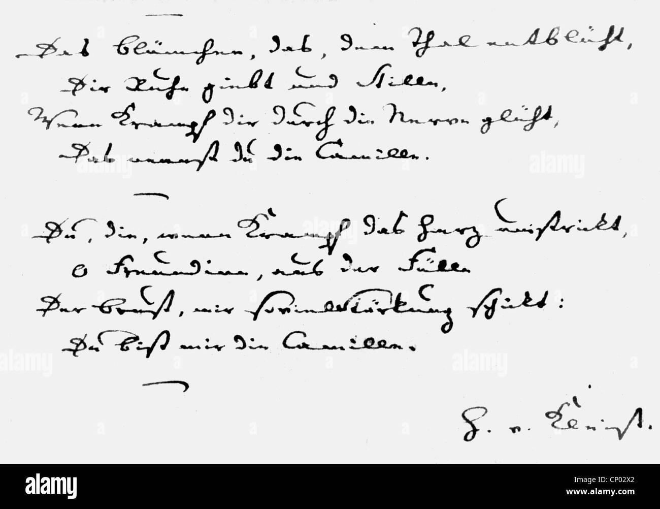 Kleist, Heinrich von, 18.10.1777 - 21.11.1811, German author / writer (poet), his handwriting, excerpt from a love - Stock Image