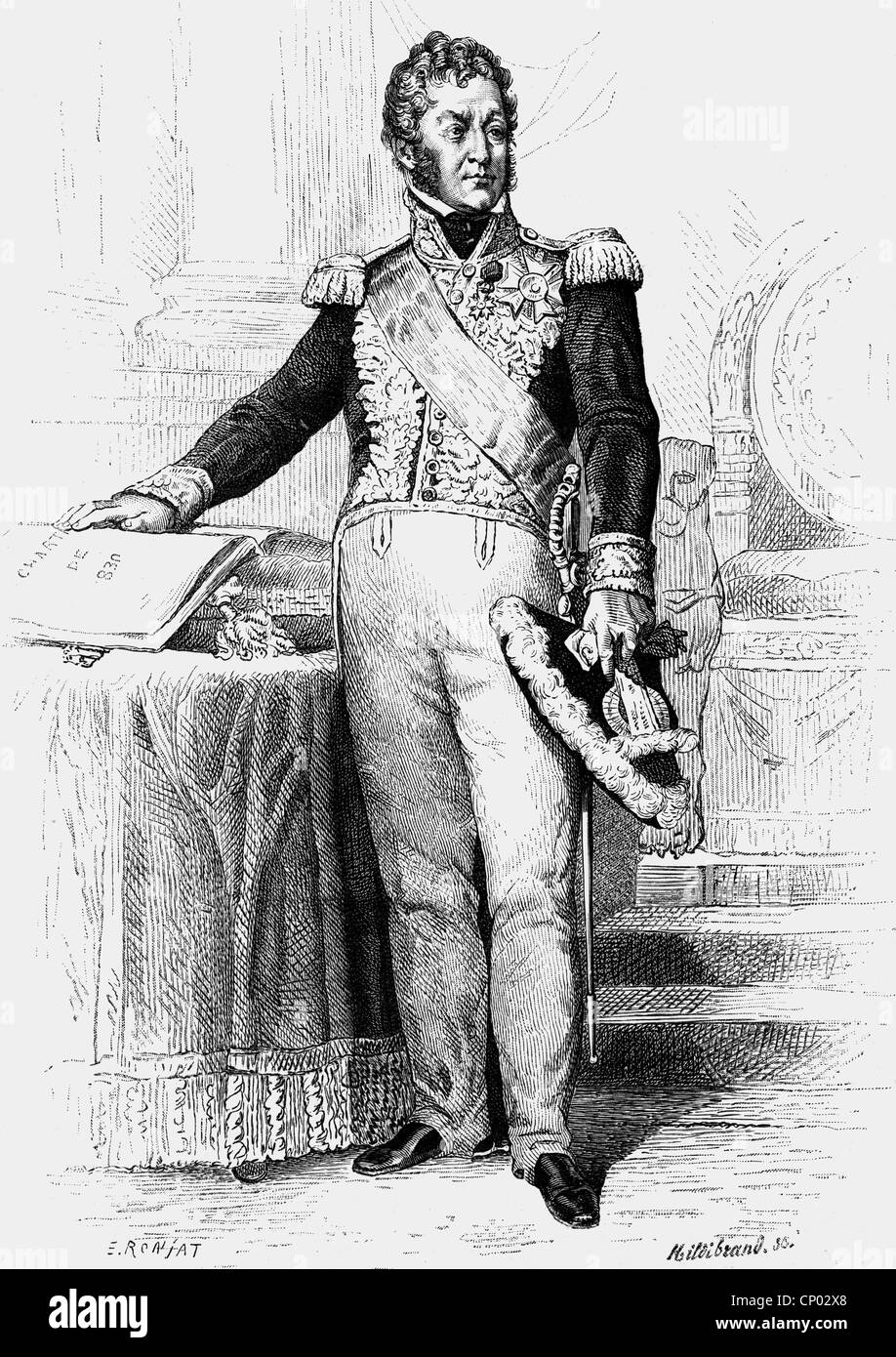 Louis Philippe, 6.10.1773 - 26. 8.1850, King of France 7.8.1830 - 24.2.1848, full length, wood engraving, 19th century, - Stock Image
