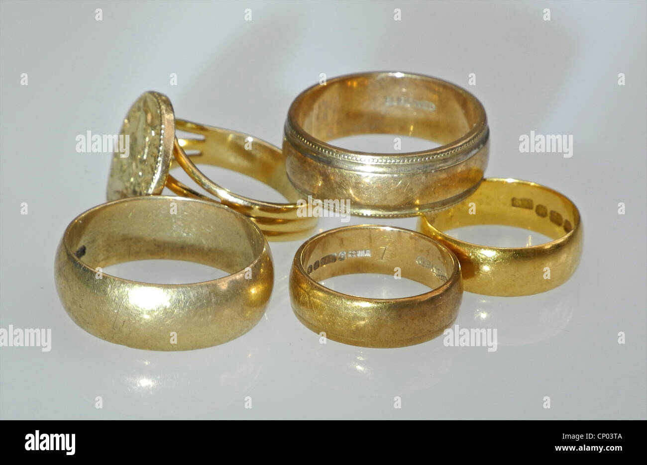 Five Gold rings - Stock Image
