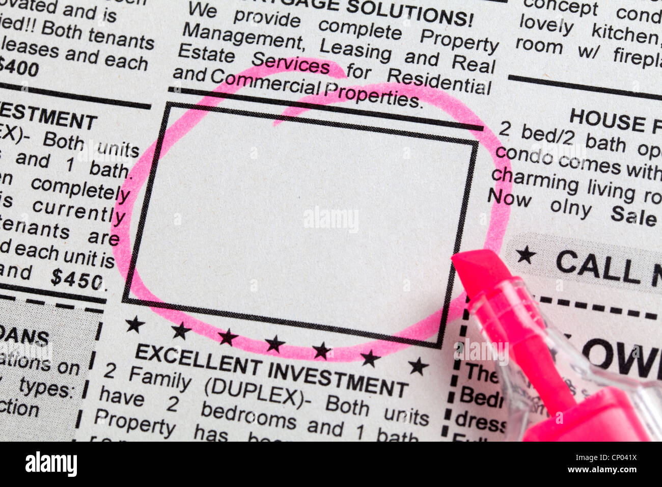 Classified Ad, newspaper, business concept. - Stock Image