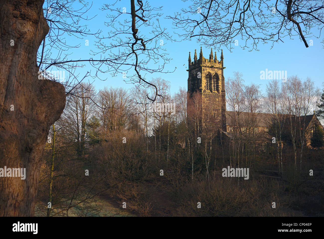 St Mary's Church from Lymm Dam, Lymm, Cheshire, England Stock Photo