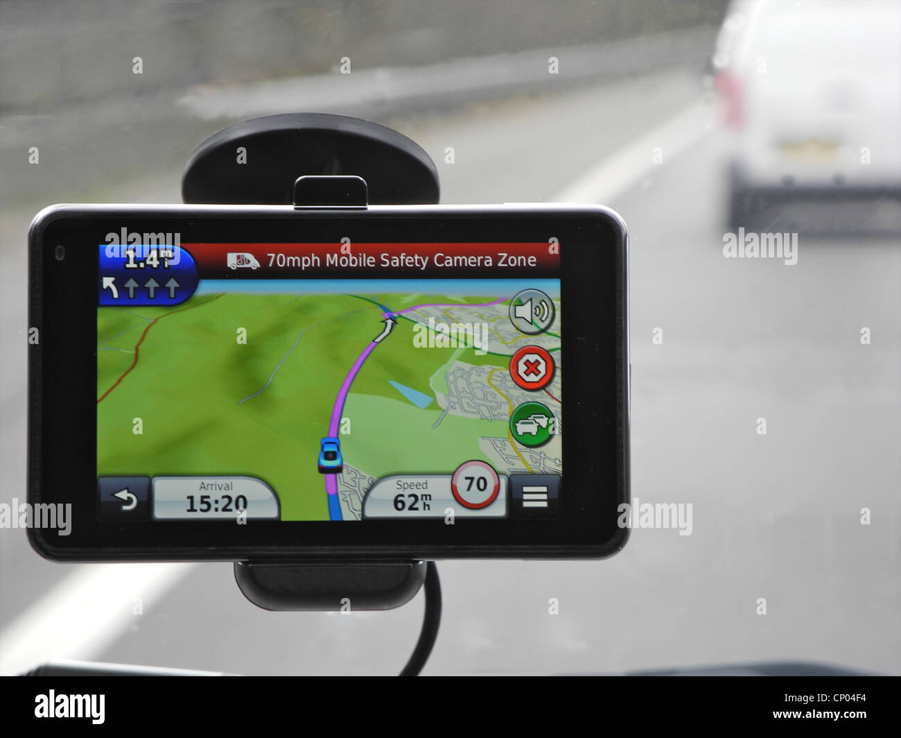 Sat Nav. Satellite Navigation unit device working in a car. - Stock Image
