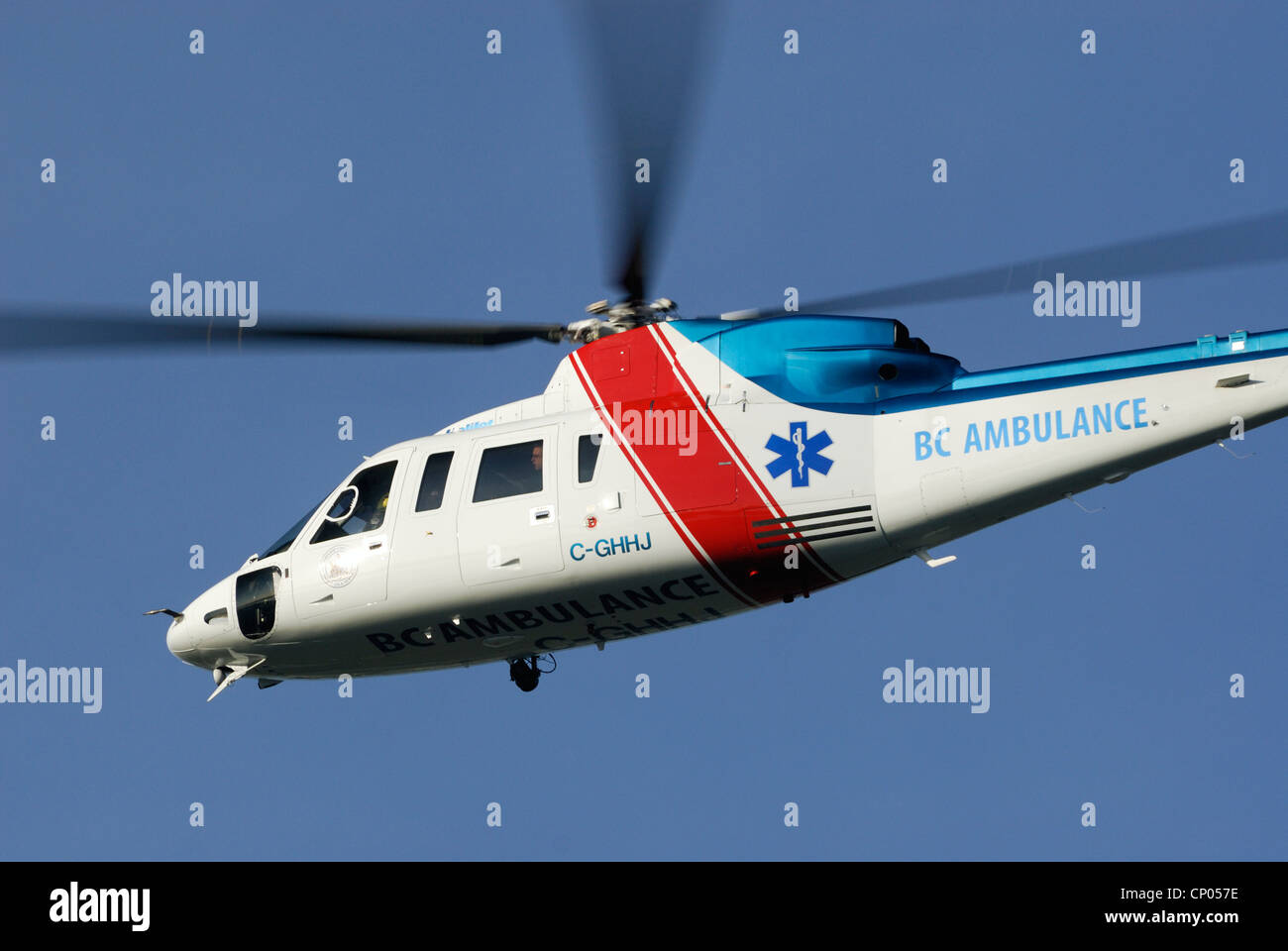 Sikorsky S-76 Twin-turbo-shaft air ambulance helicopter. Stock Photo