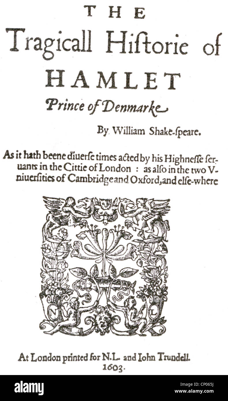 HAMLET Title page of the First Quarto published in 1603 - the so-called 'bad Quarto' - Stock Image