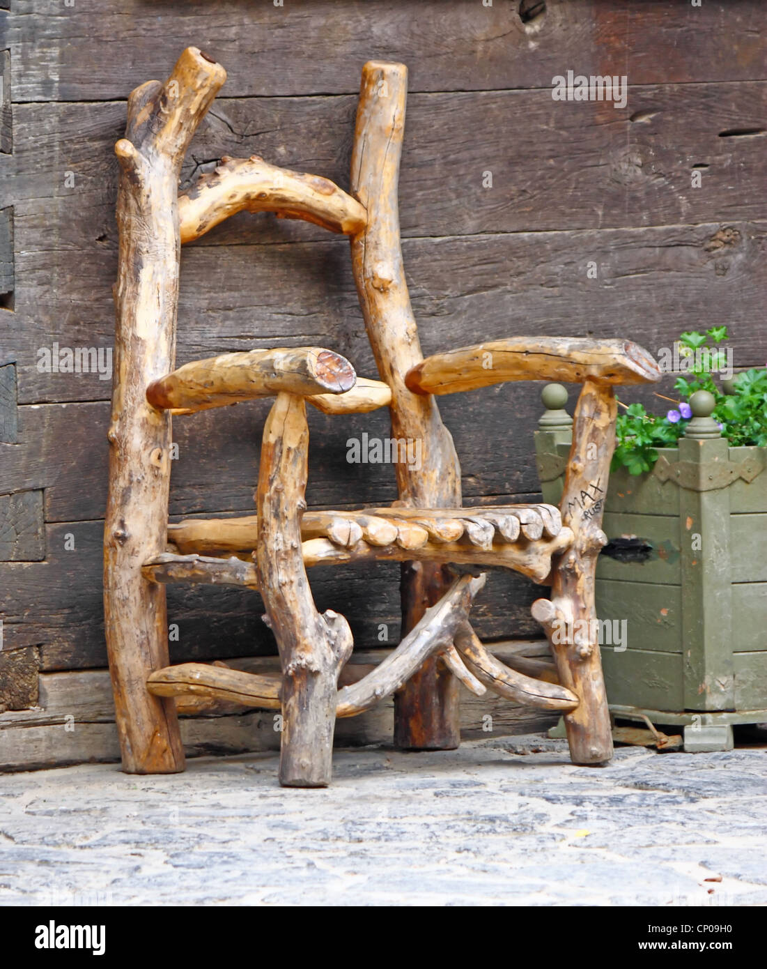An Unusual Chair Made From Branches   Stock Image