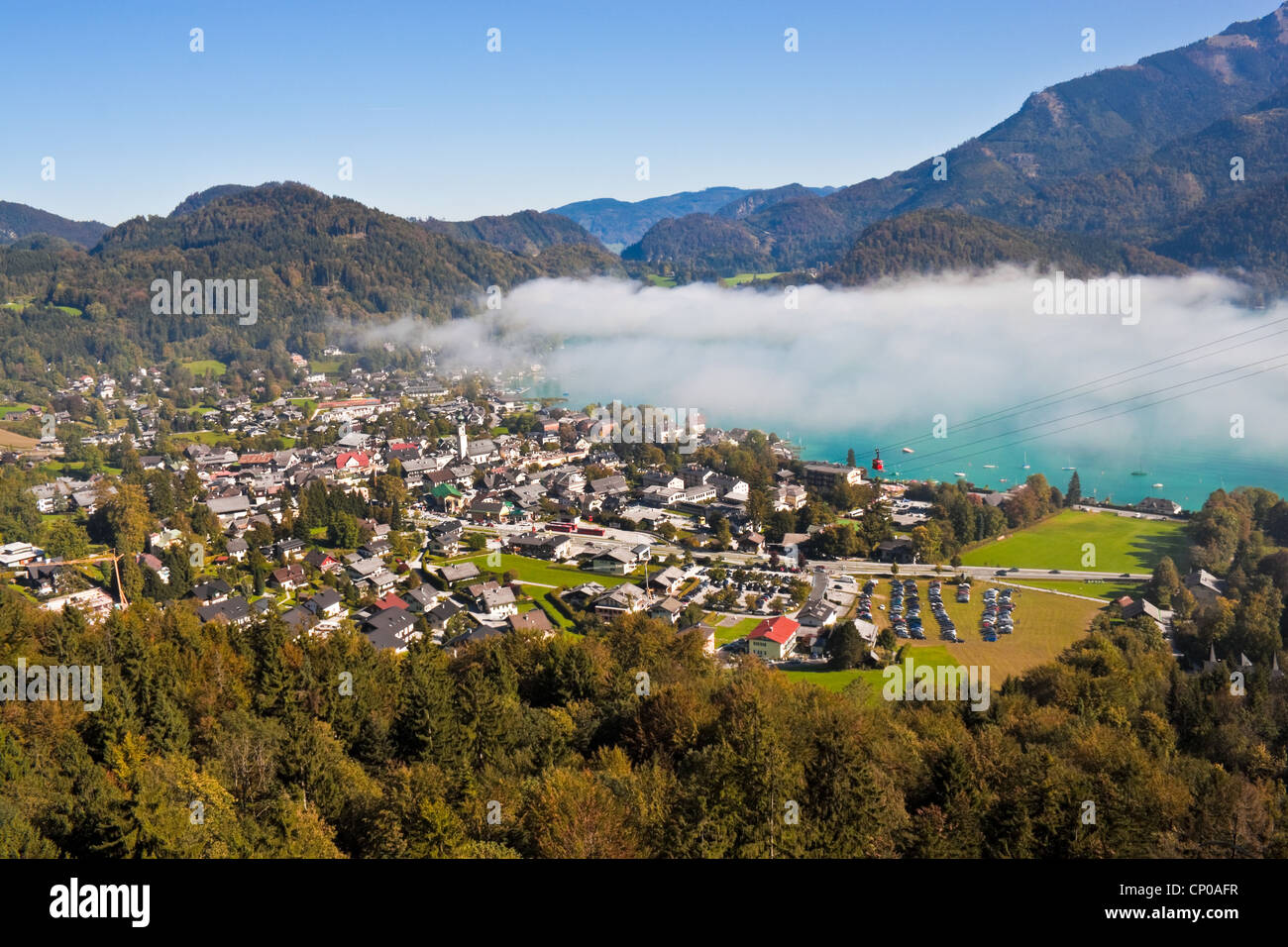 view of St. Gilgen, Wolfgangsee and mountains in Austria - Stock Image