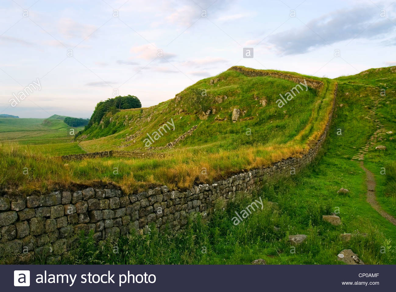 Dawn at the Hadrians Wall, Northumbria, North England - Stock Image