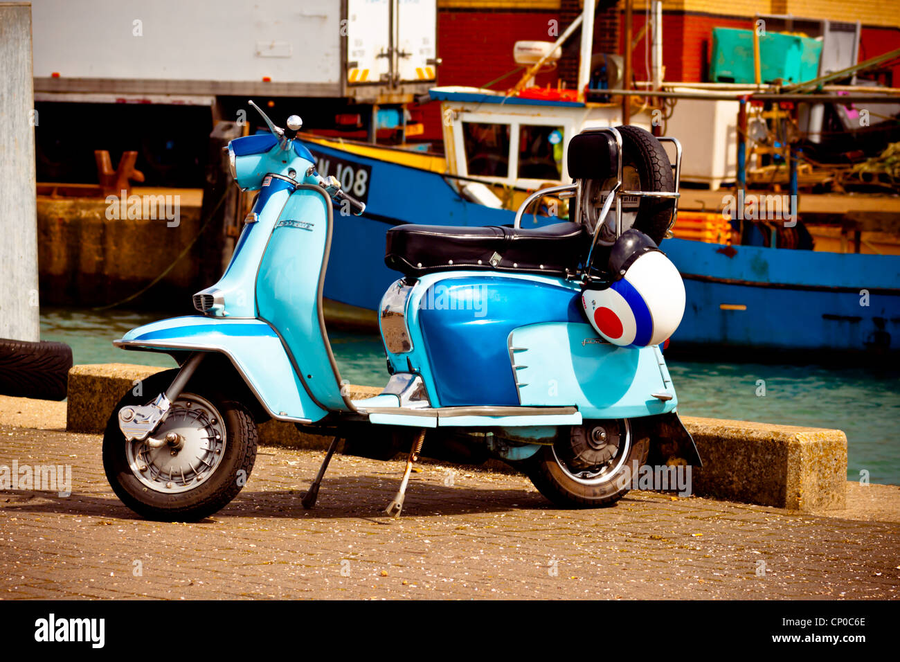 Lambretta scooter at Camber Docks Portsmouth Stock Photo