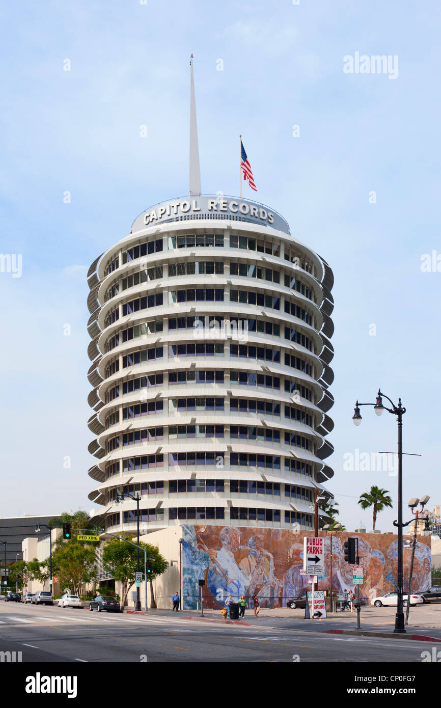 Capitol Records Building, Hollywood, Los Angeles - Stock Image