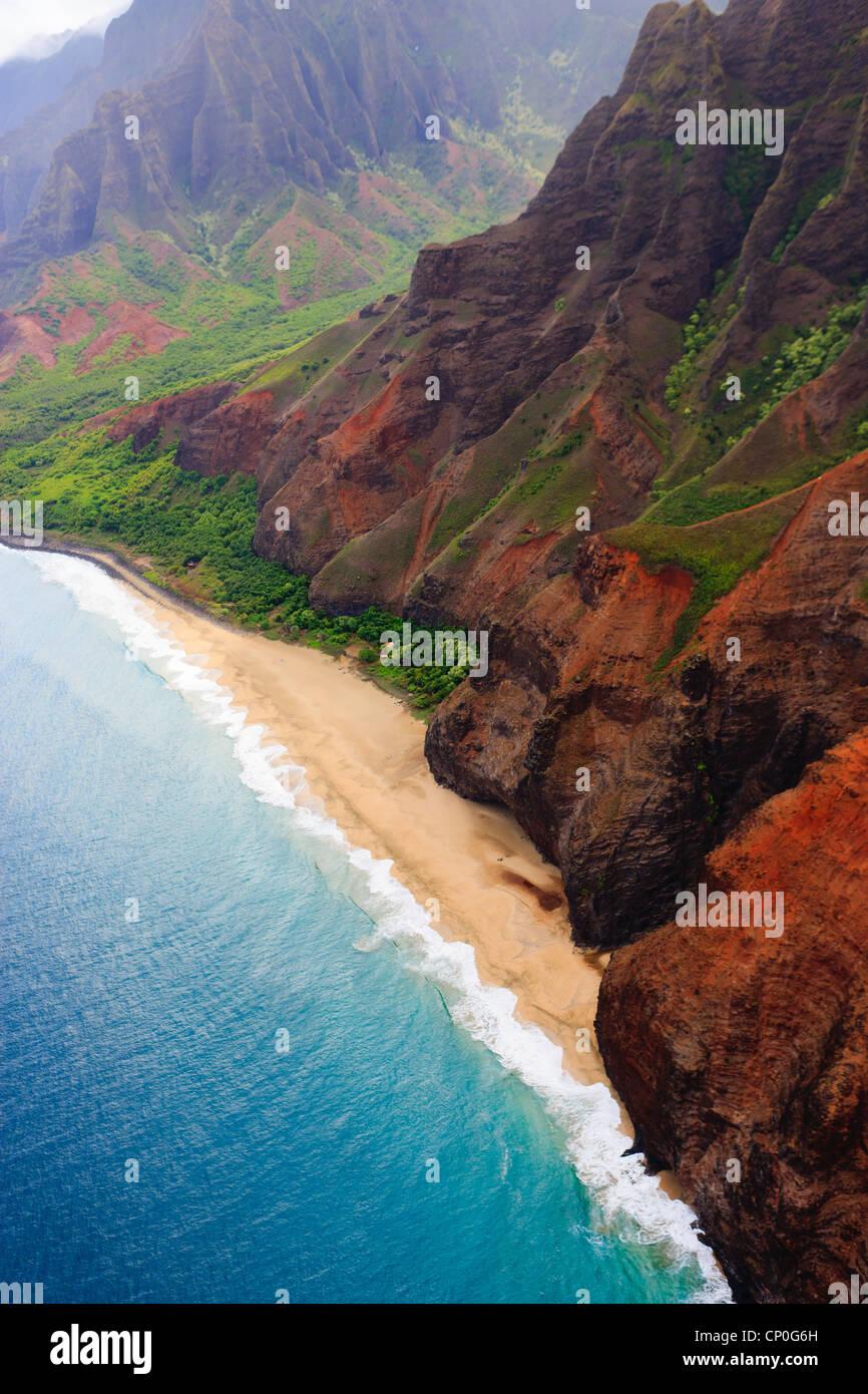 Helicopter view over Napali coastline. Kauai, Hawaii - Stock Image