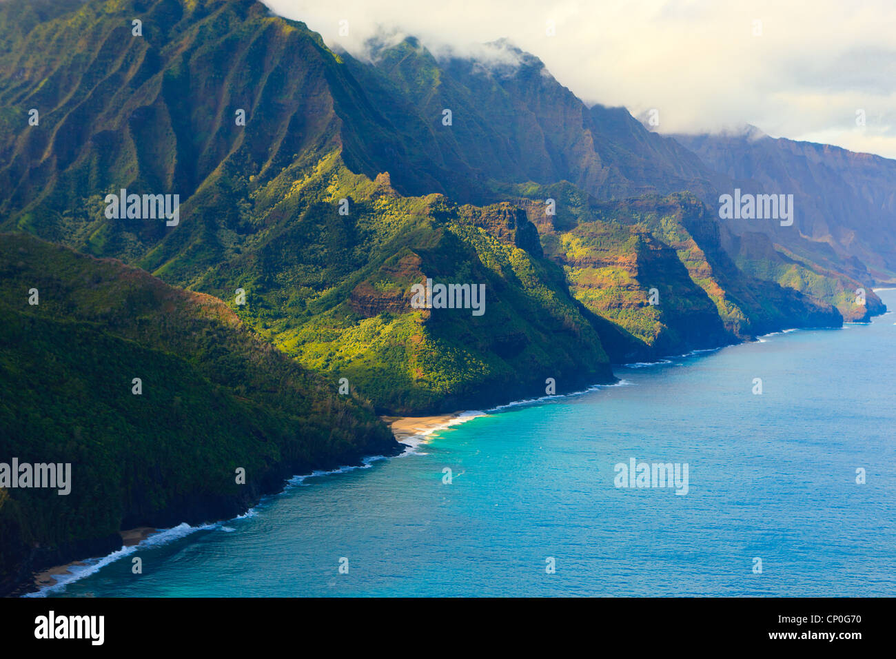 Helicopter view over Napali coastline. Kauai, Hawaii - Stock Image
