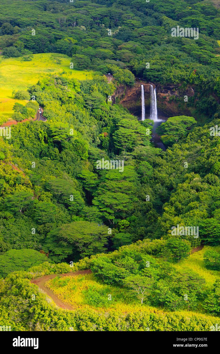 Helicopter view over the Wailua Falls. Kauai, Hawaii - Stock Image