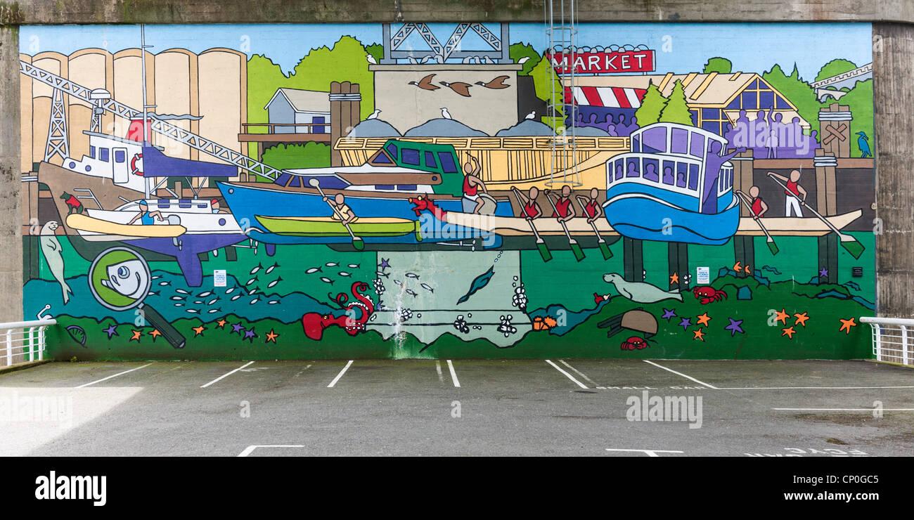 Granville Island Mural, Vancouver - Stock Image