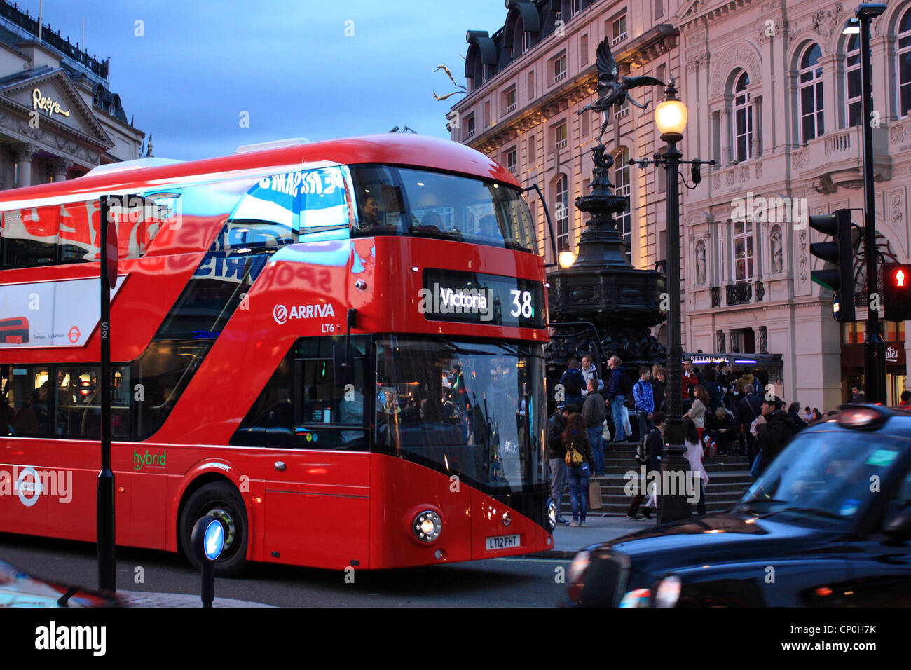 New bus for London in Piccadilly Circus - Stock Image