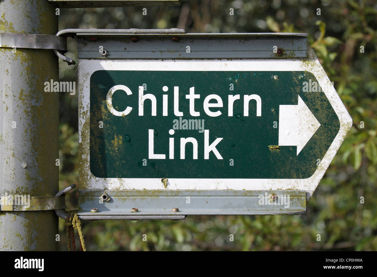 Sign showing the Chiltern Link footpath, near Wendover, Buckinghamshire, UK. - Stock Image