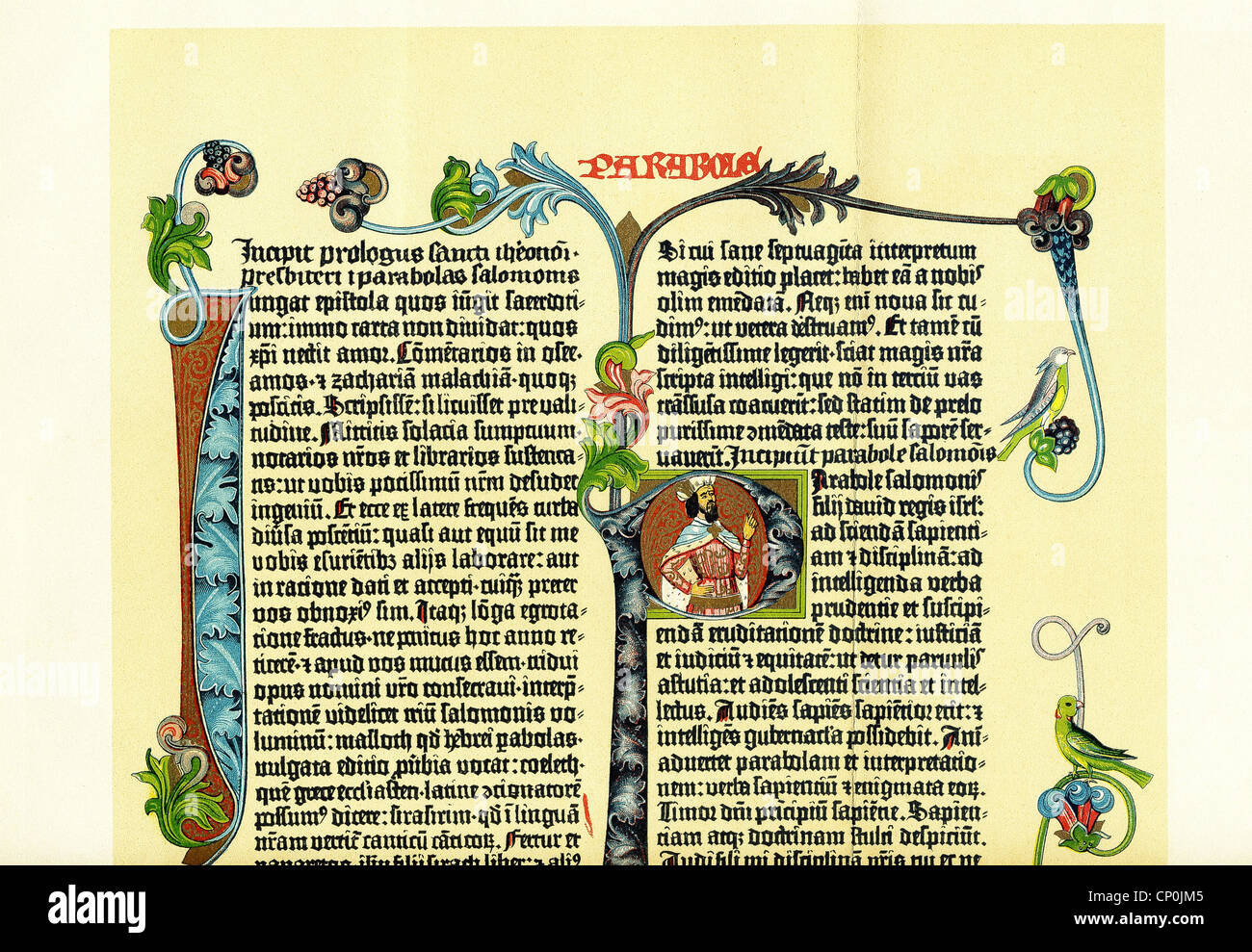 This illustrated piece is the top half of a page from Gutenberg Bible, also known as the 42-Line Bible, produced - Stock Image