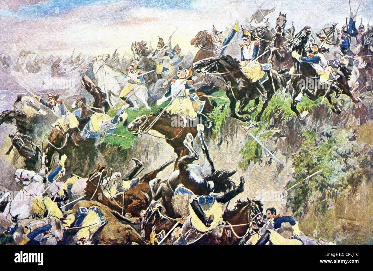 The Battle of Waterloo took place on Sunday, June 18, 1815. Here, the French, under Napoleon, attack the Anglo-Allies. - Stock Image
