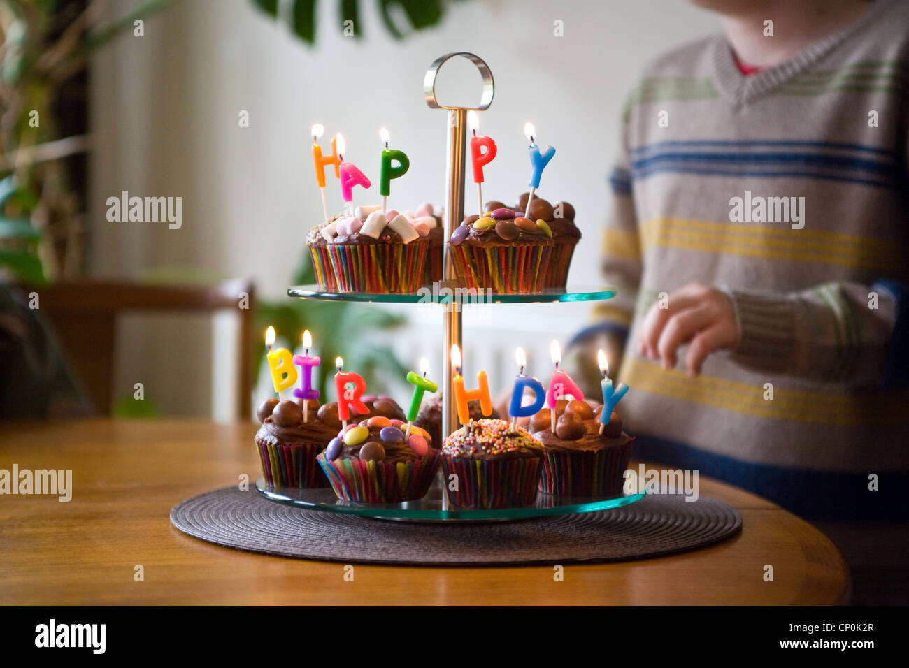 Happy Birthday Cakes Cup Cake Candles Party Dessert