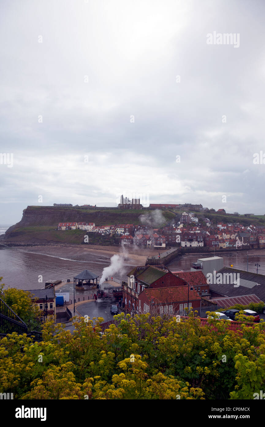 Whitby Town, Yorkshire, An old vintage Sentinel DG6 steam and industrial mode of transport letting off steam - Stock Image