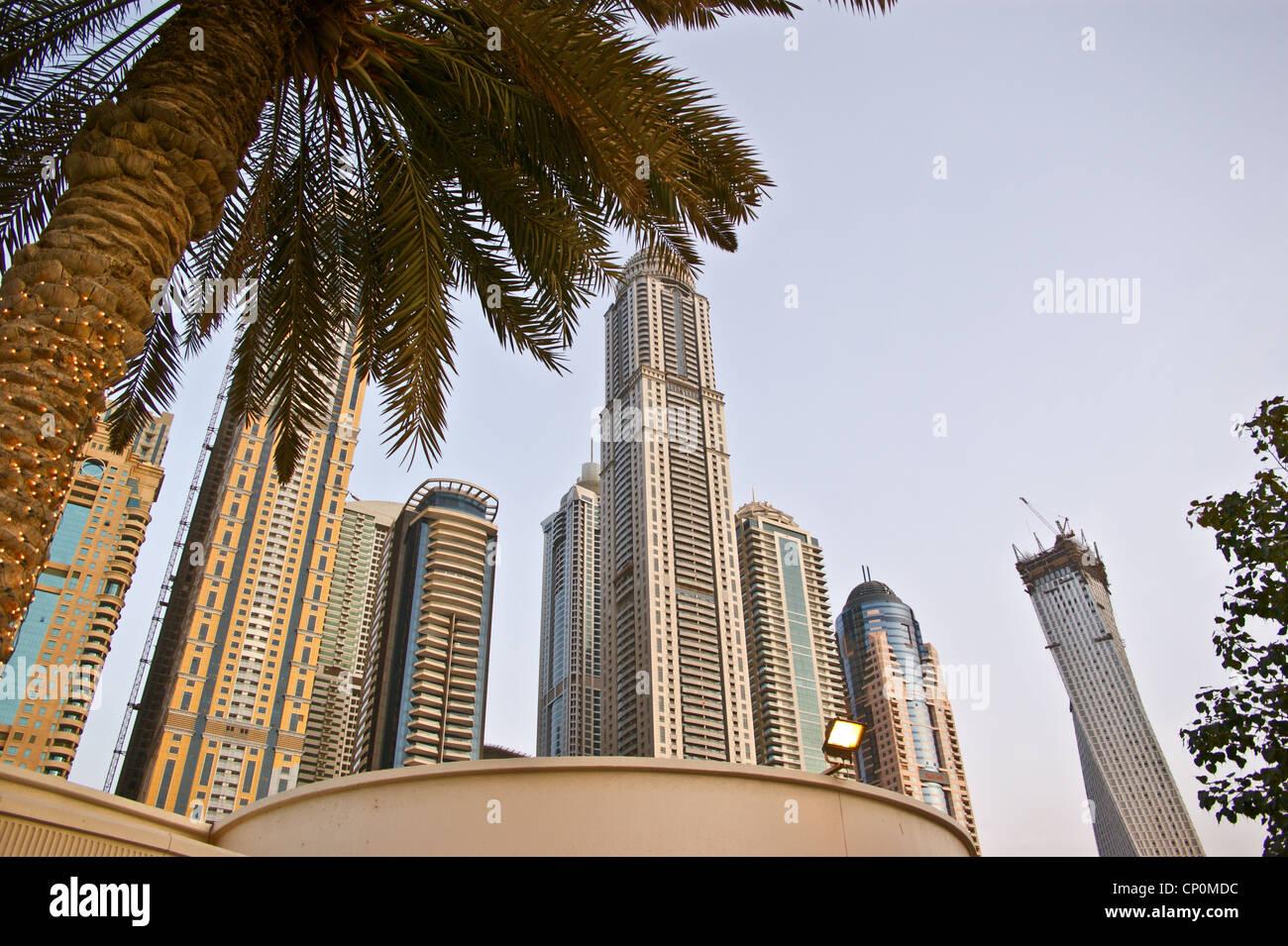 Skyscrapers, Dubai Marina, Dubai, United Arab Emirates. Marriott Hotel, Cayan Tower - Stock Image