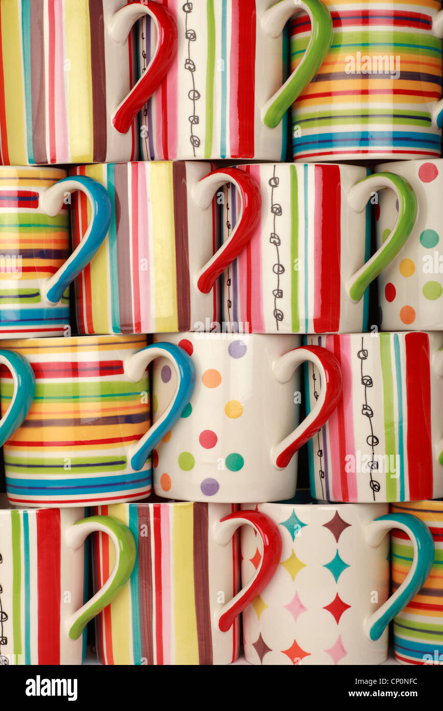 Lots of Drinking Mugs - Stock Image