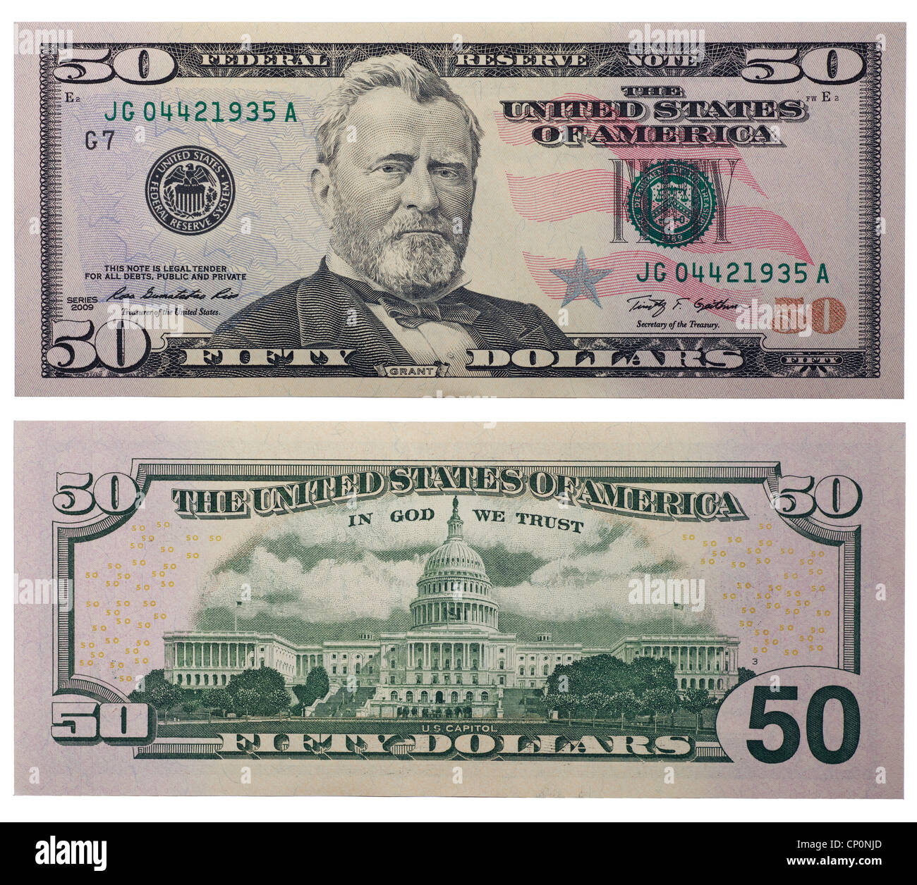 Fifty Dollar Bill Back And Front
