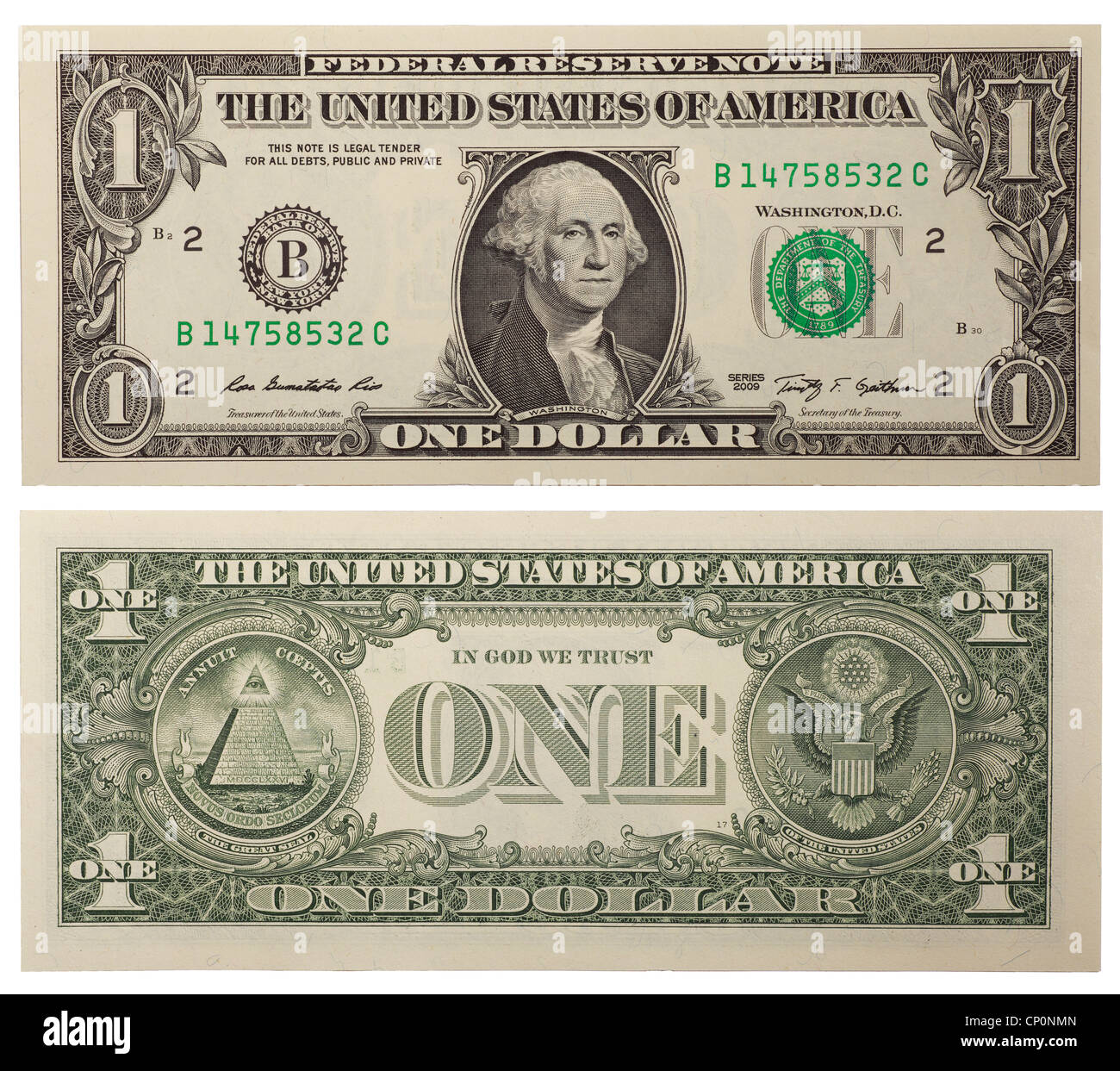 One Dollar Bill Back And Front