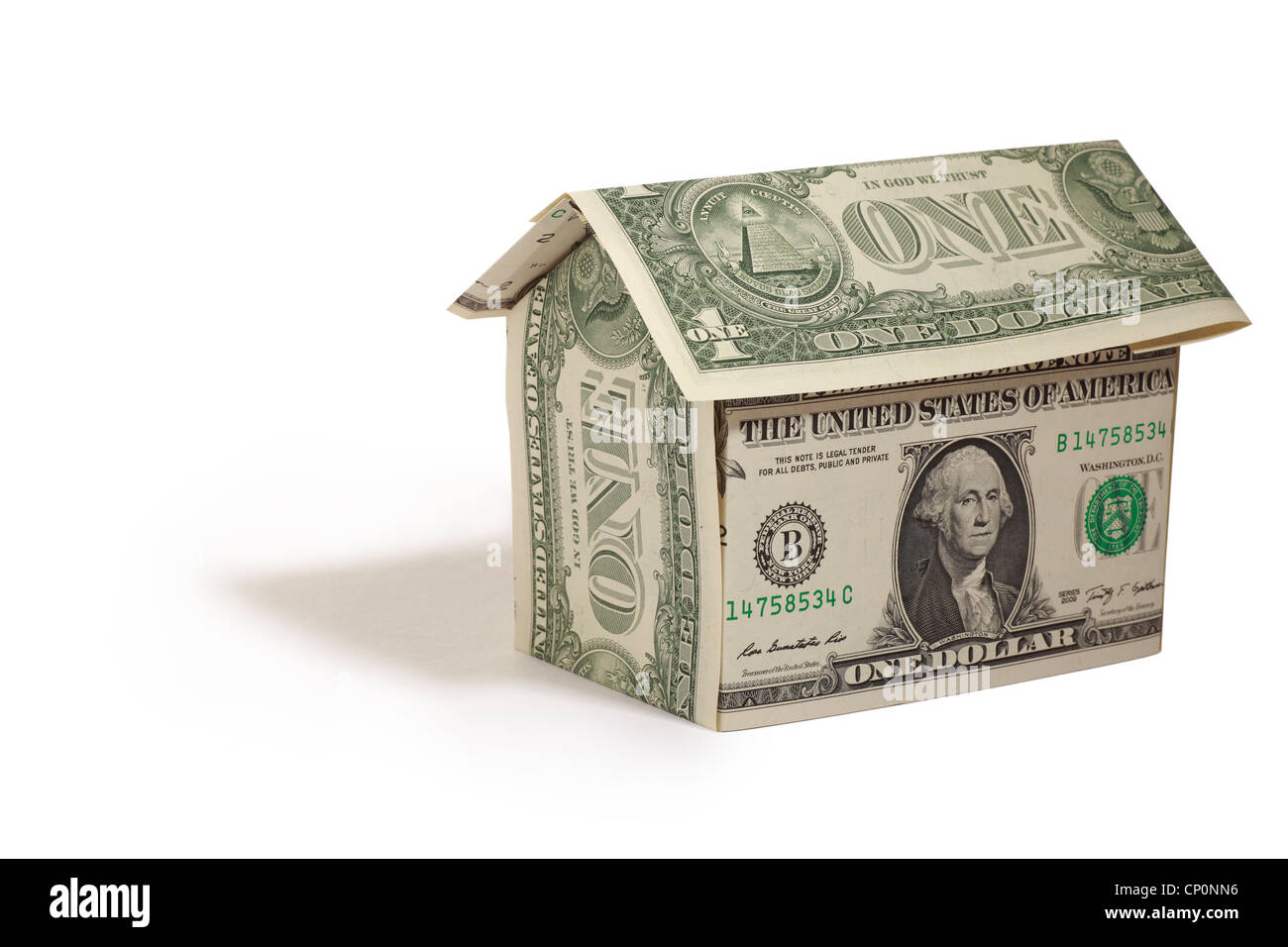House made from fresh American Dollars - Stock Image