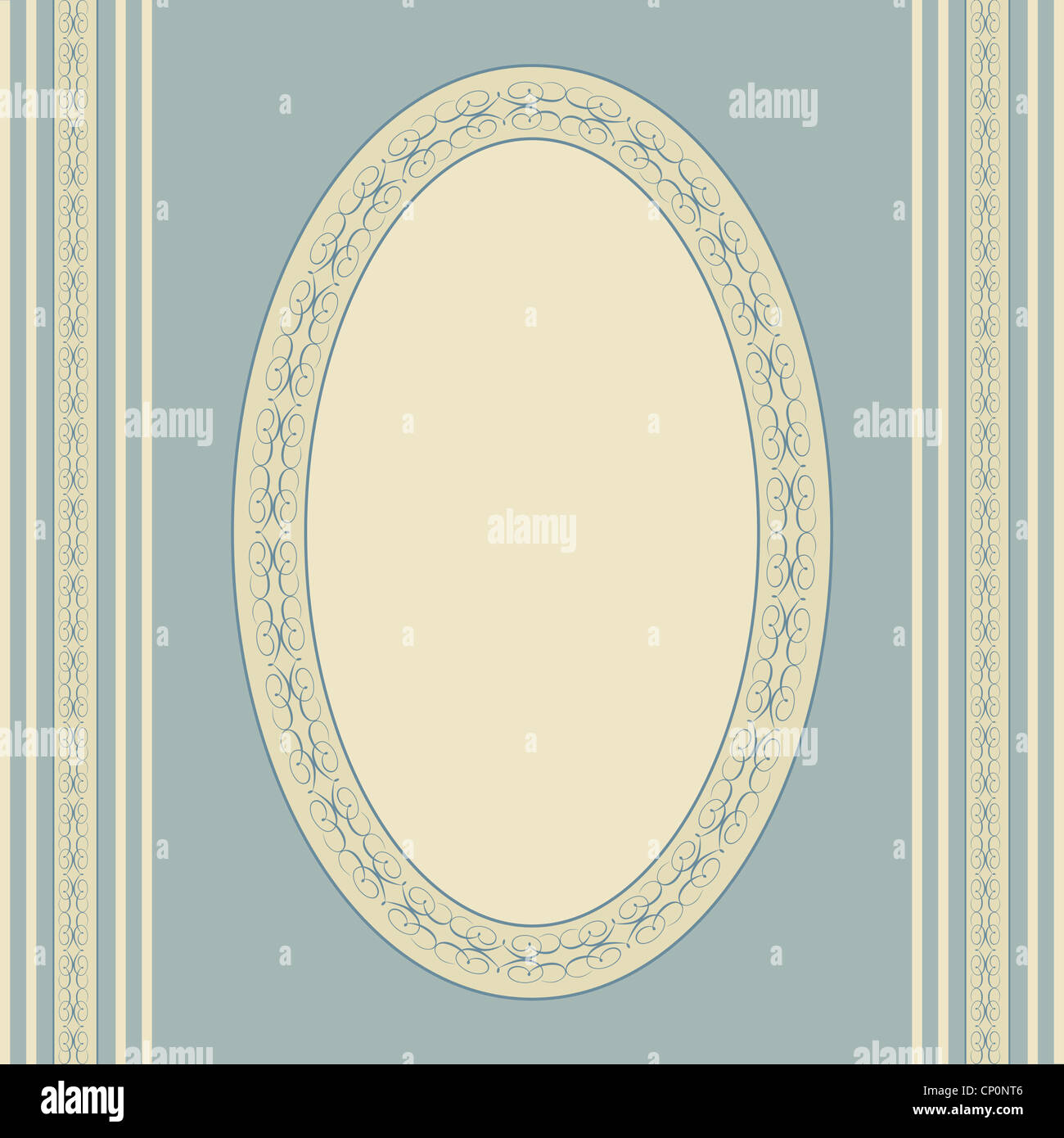 Artistic oval frame on blue with vintage look Stock Photo