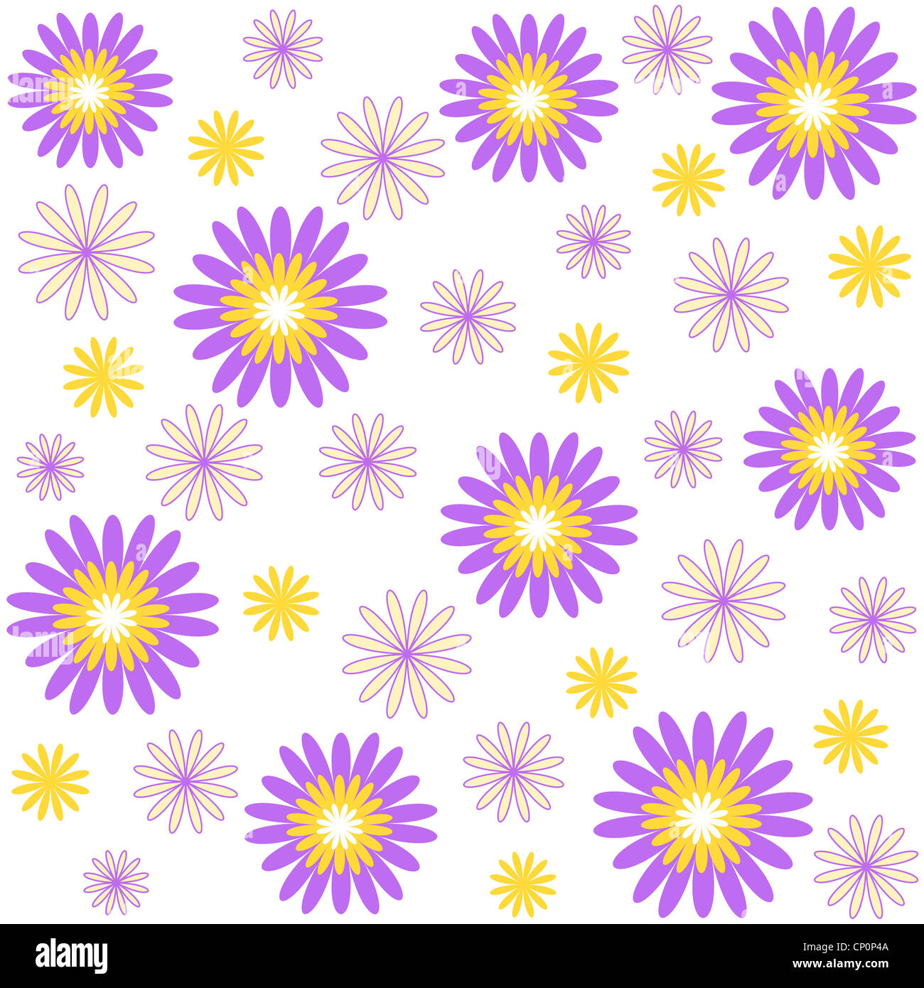 Violet and yellow floral pattern on white Stock Photo