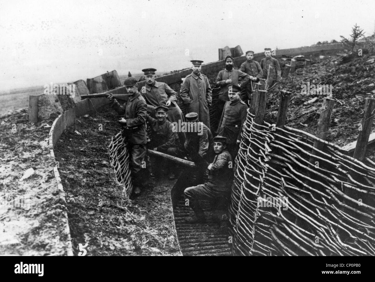 German military soldiers in a trench during World War One - Stock Image