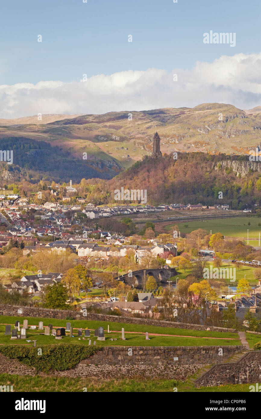 The Wallace Monument, The Auld Brig and the Ochil Hills from Stirling - Stock Image
